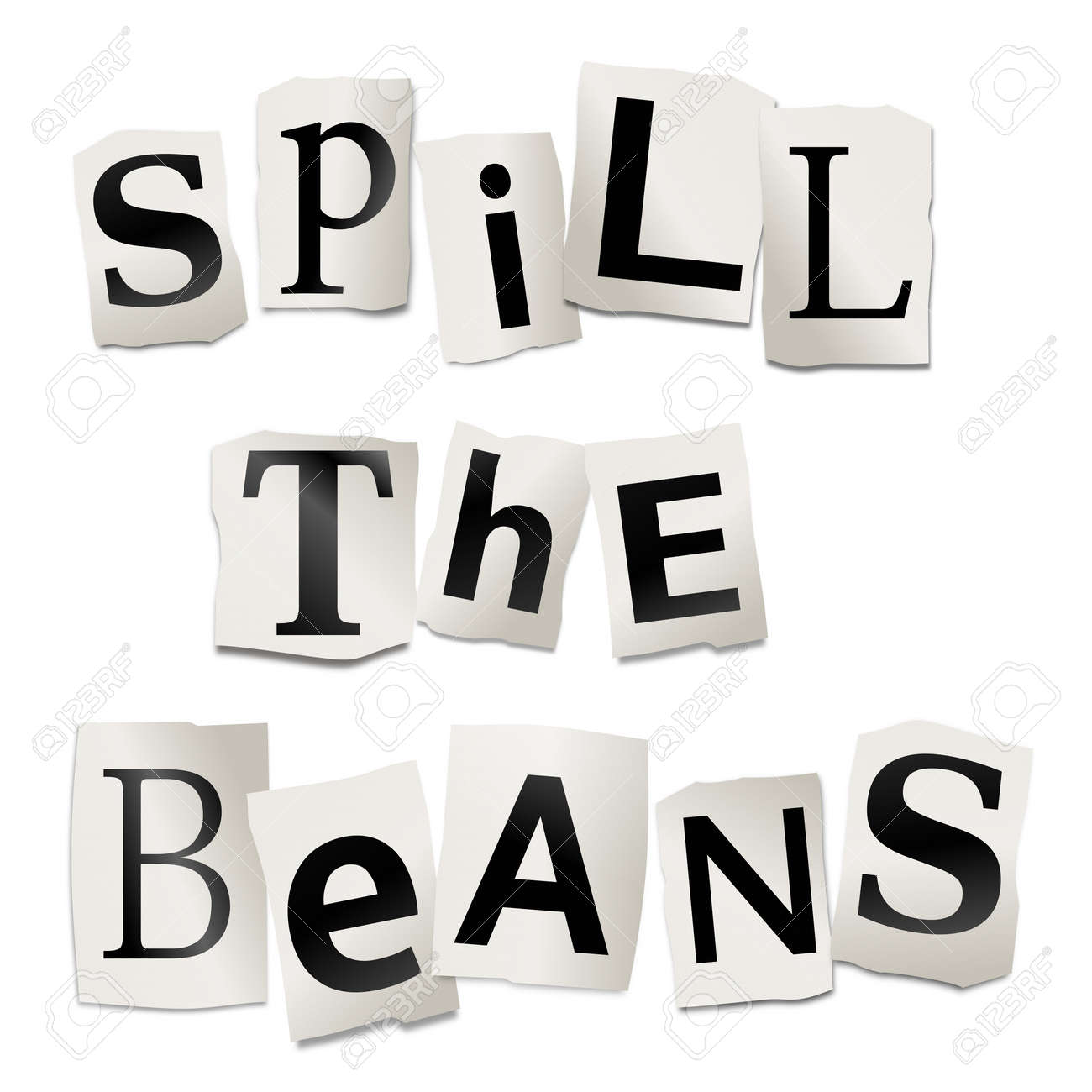 Illustration depicting cutout printed letters arranged to form the words spill the beans Stock Photo - 17663633
