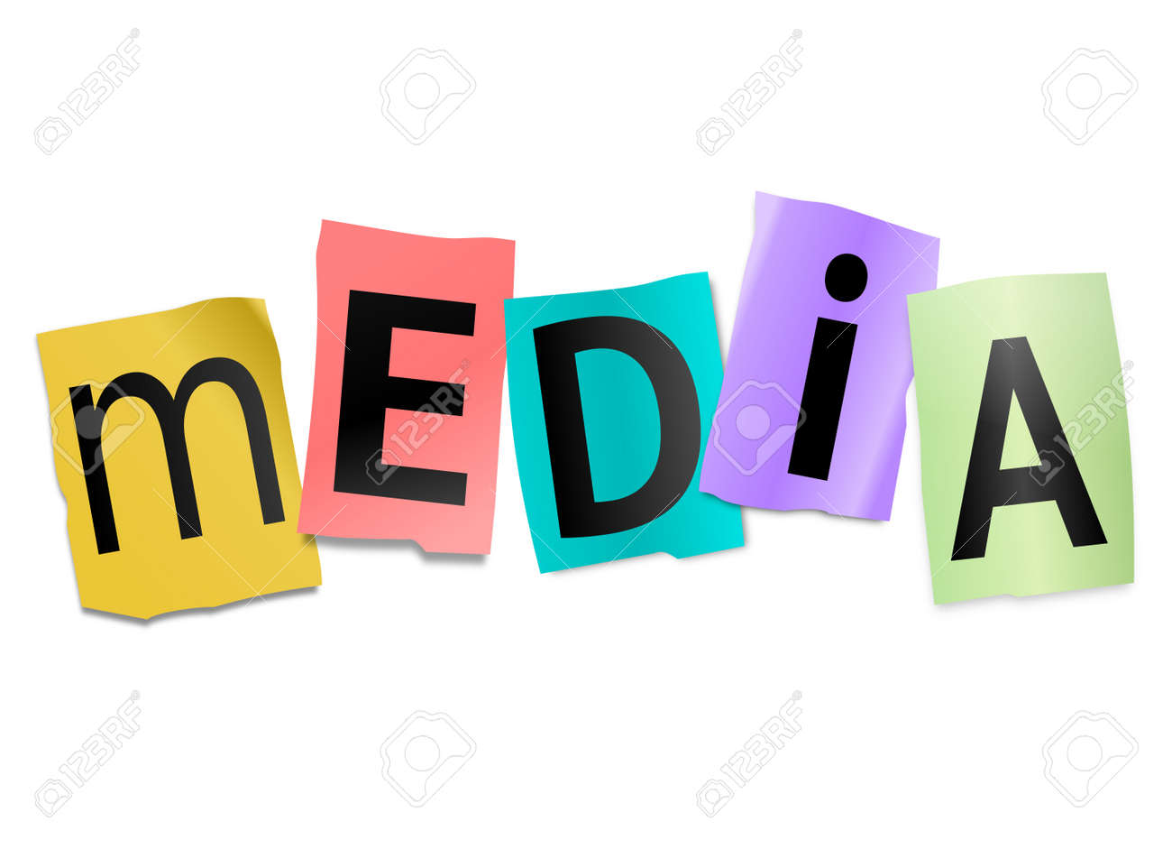 Illustration depicting cutout printed letters arranged to form the word media Stock Photo - 17663619