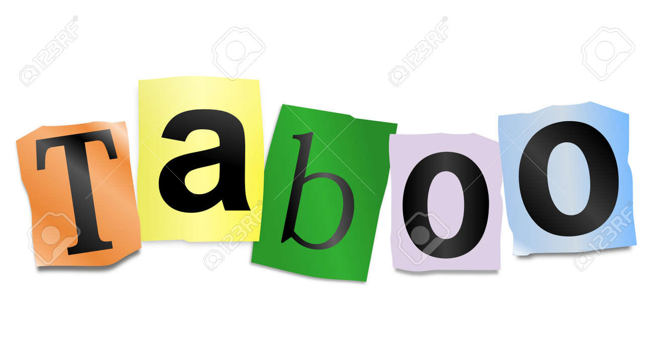 illustration illustration depicting cutout printed letters arranged to form the word taboo
