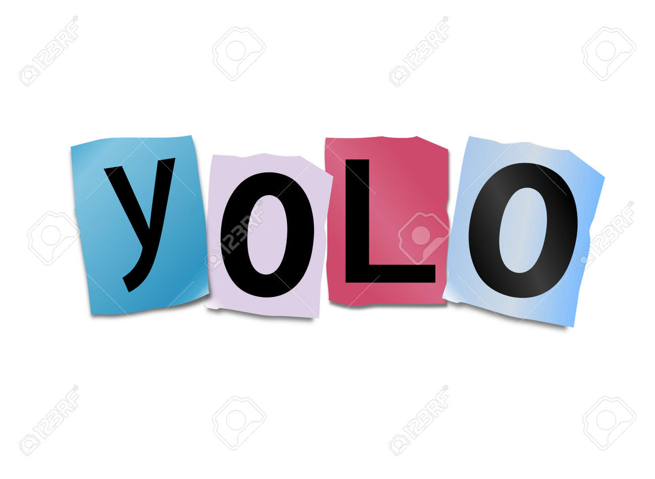 illustration illustration depicting cutout printed letters arranged to form the word yolo