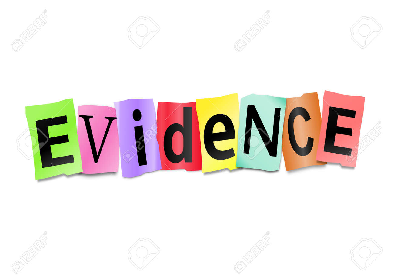Illustration depicting cutout printed letters arranged to form the word evidence Stock Photo - 17957671