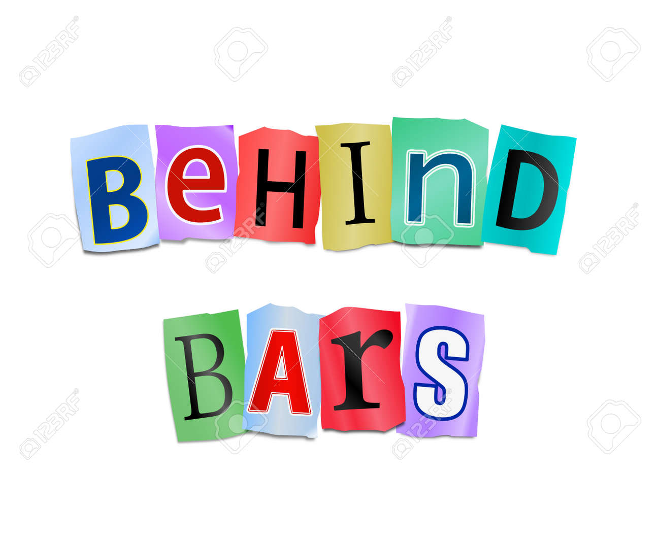 Illustration depicting cutout printed letters arranged to form the words behind bars Stock Photo - 18003871