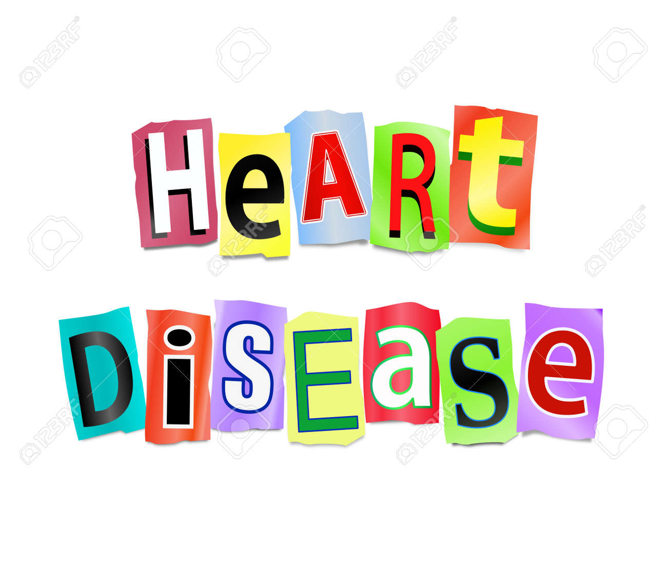 illustration illustration depicting cutout printed letters arranged to form the words heart disease
