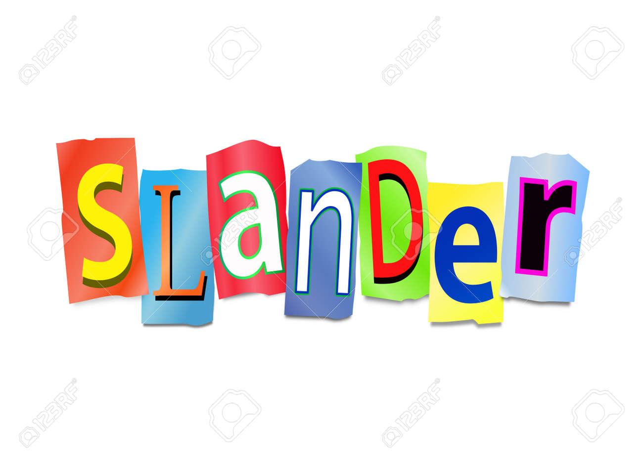 Illustration depicting cutout printed letters arranged to form the word slander Stock Illustration - 18496351