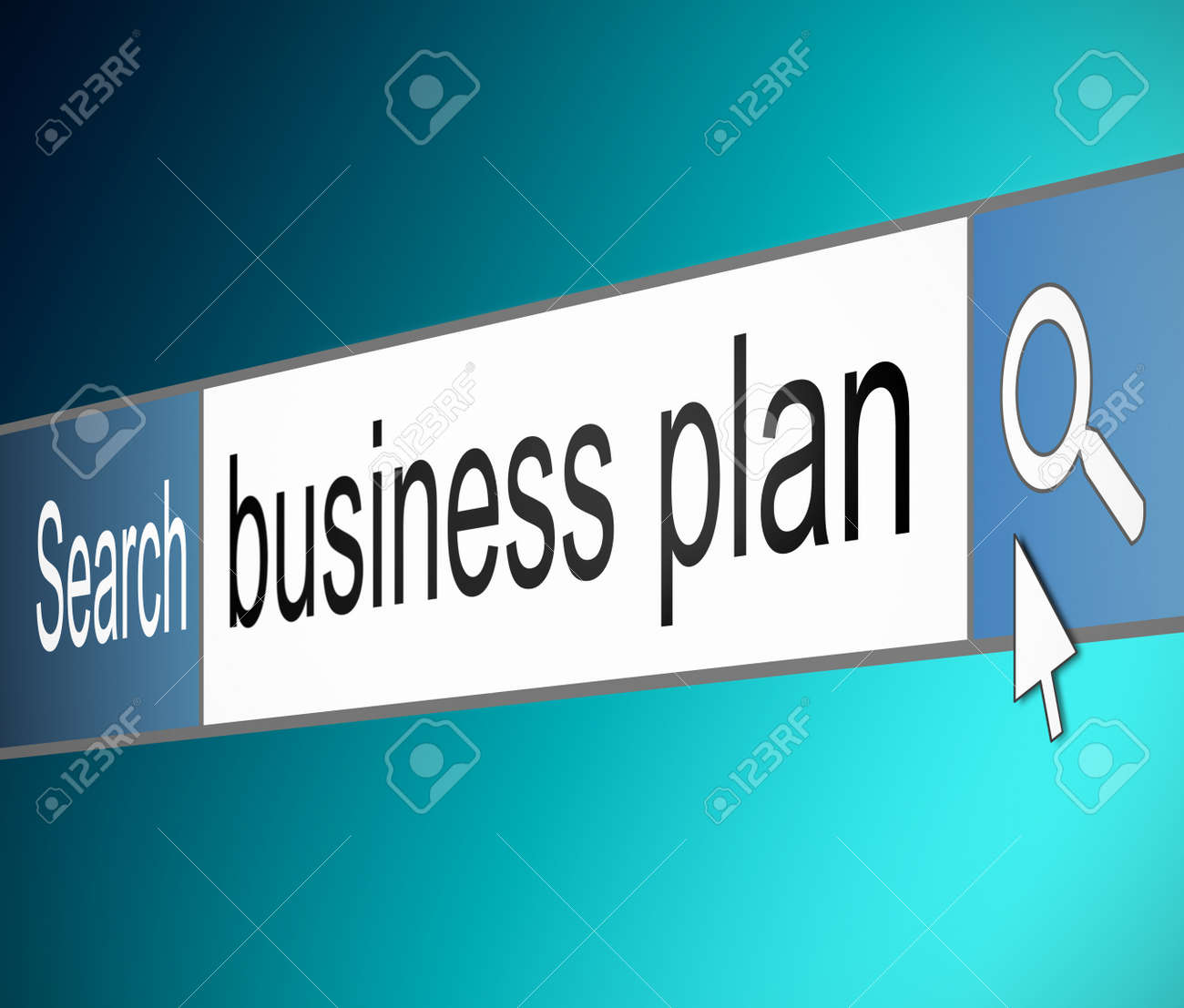 Illustration depicting a screen shot of an internet search bar containing a business plan concept. Stock Illustration - 18689723