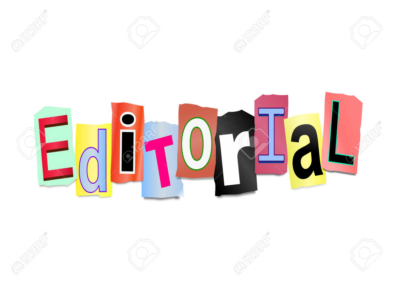 illustration illustration depicting cutout printed letters arranged to form the word editorial