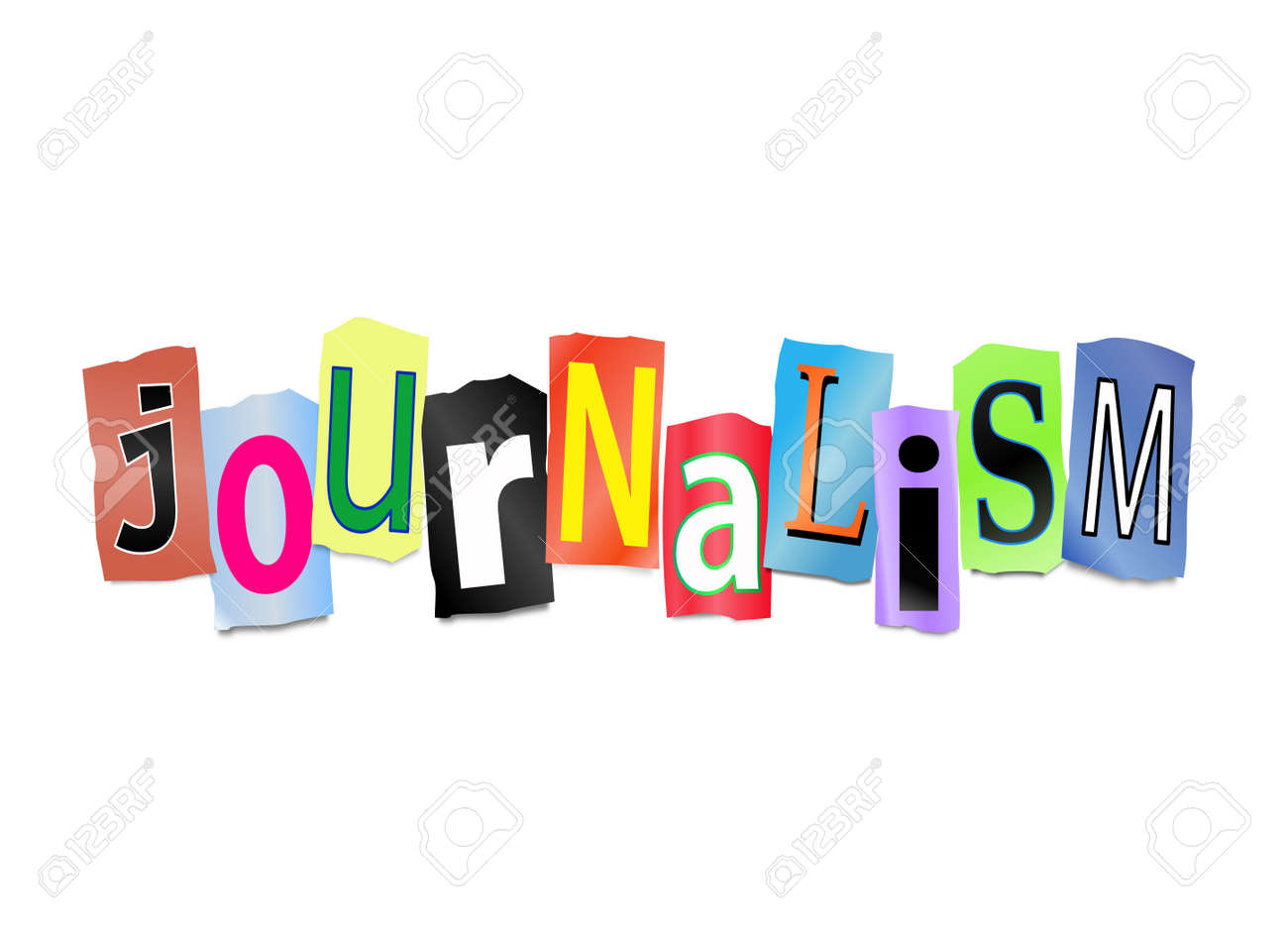 Illustration depicting cut out letters arranged to form the word journalism. Stock Photo - 19219263