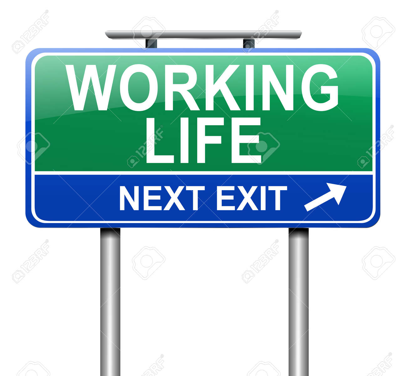 Illustration depicting a sign with a working life concept. Stock Illustration - 19438617