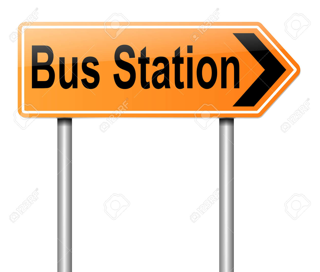 Illustration depicting a sign with directions to the bus station. Stock Illustration - 19752506