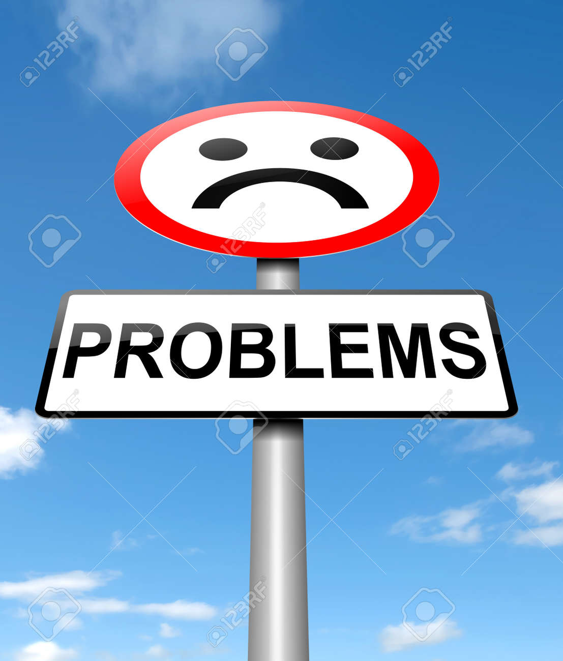 Illustration depicting a sign with a problem concept Stock Illustration - 20143573