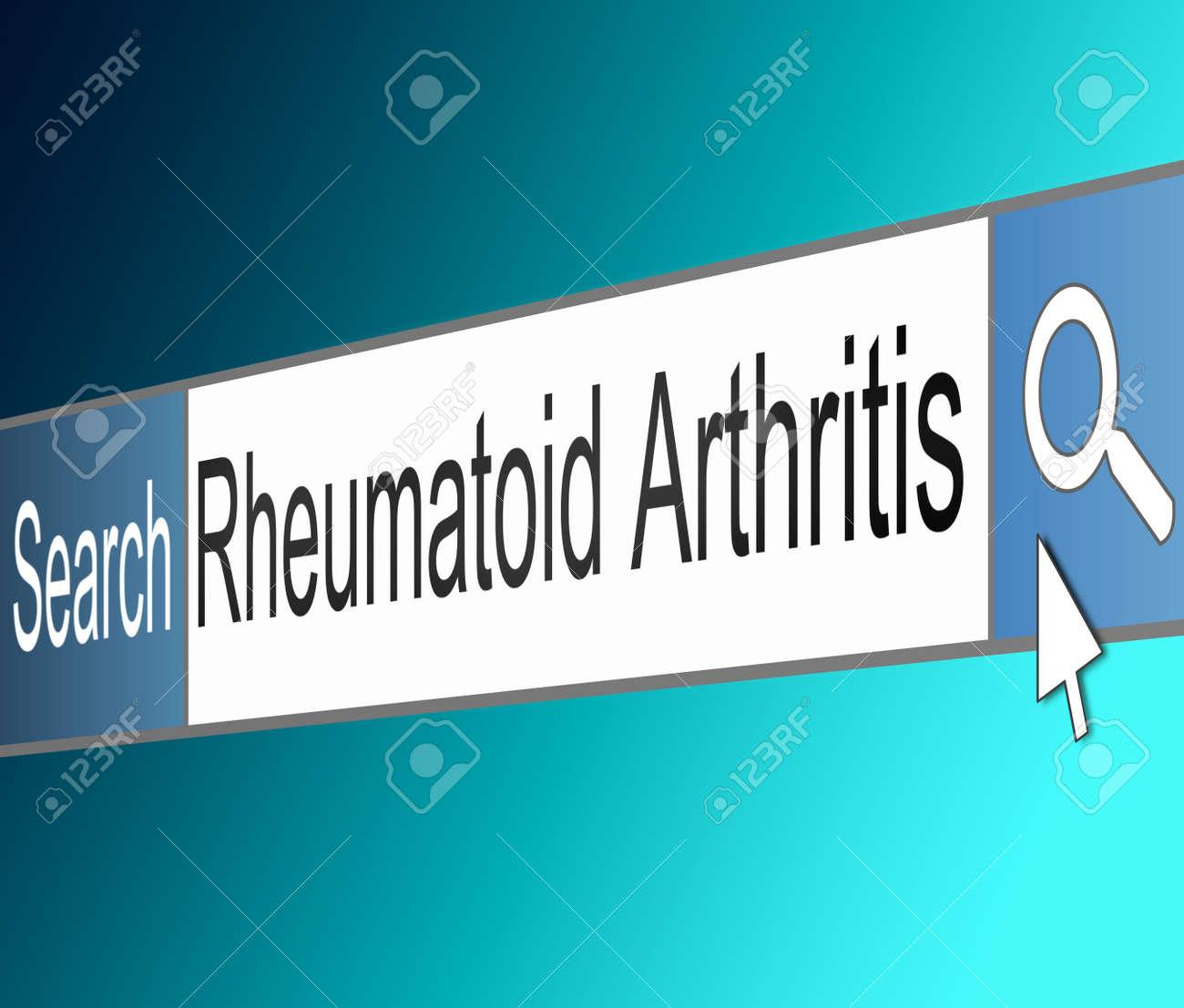 Illustration depicting a screen shot of an internet search bar containing a Rheumatoid Arthritis concept. Stock Illustration - 21617622