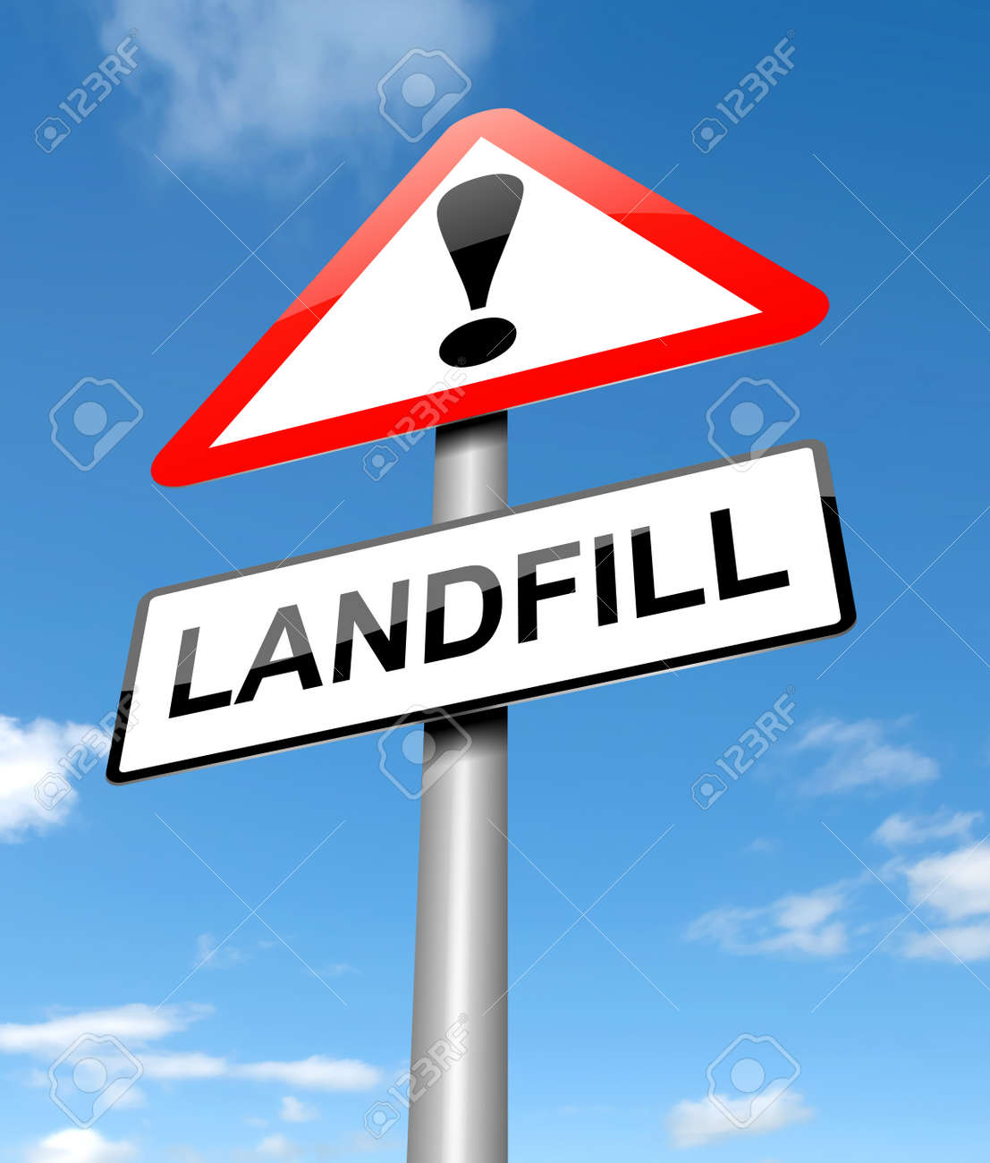 Illustration depicting a sign with a landfill concept. Stock Photo - 22366700