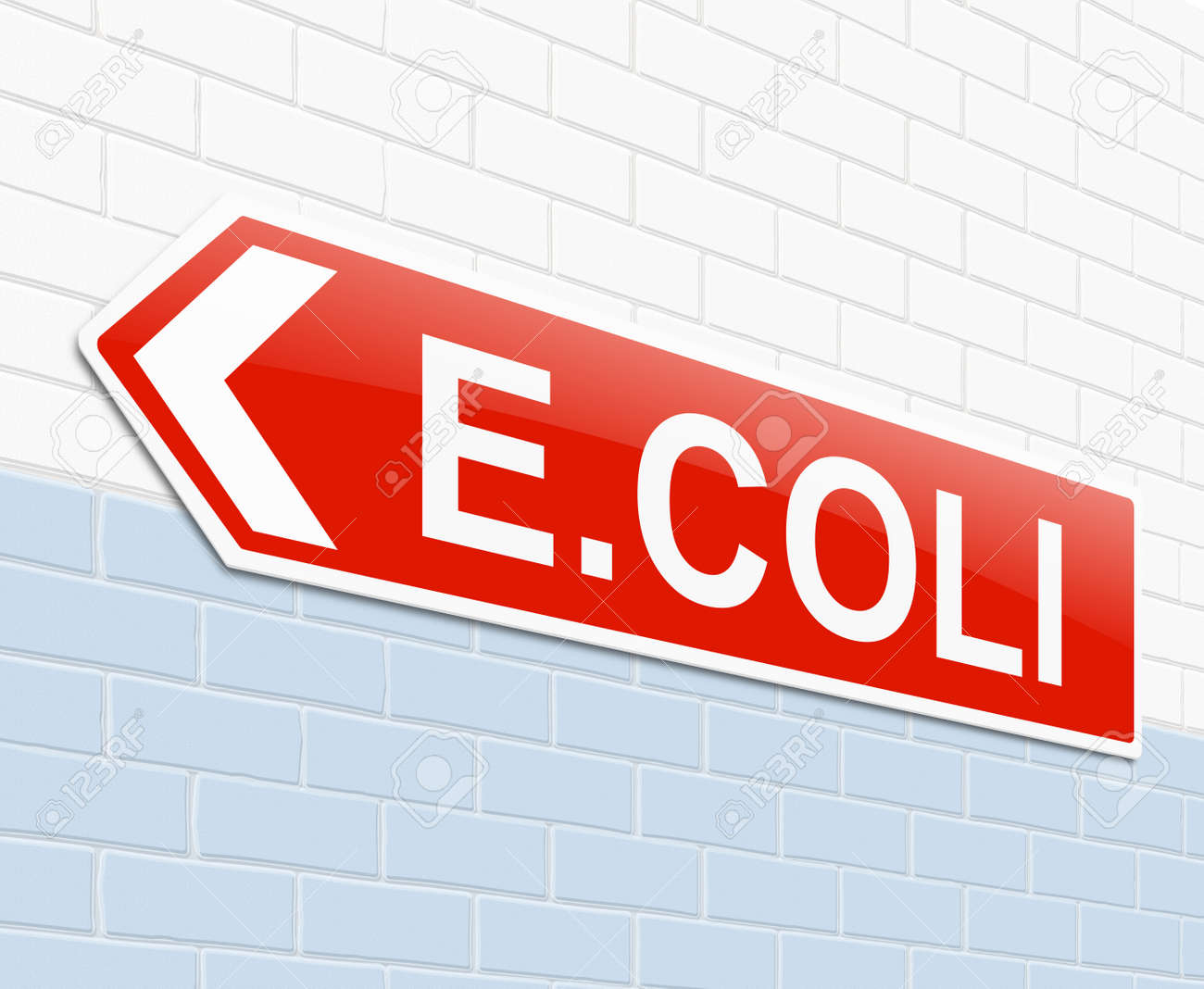 Illustration depicting a sign with an E coli concept. Stock Illustration - 23858422