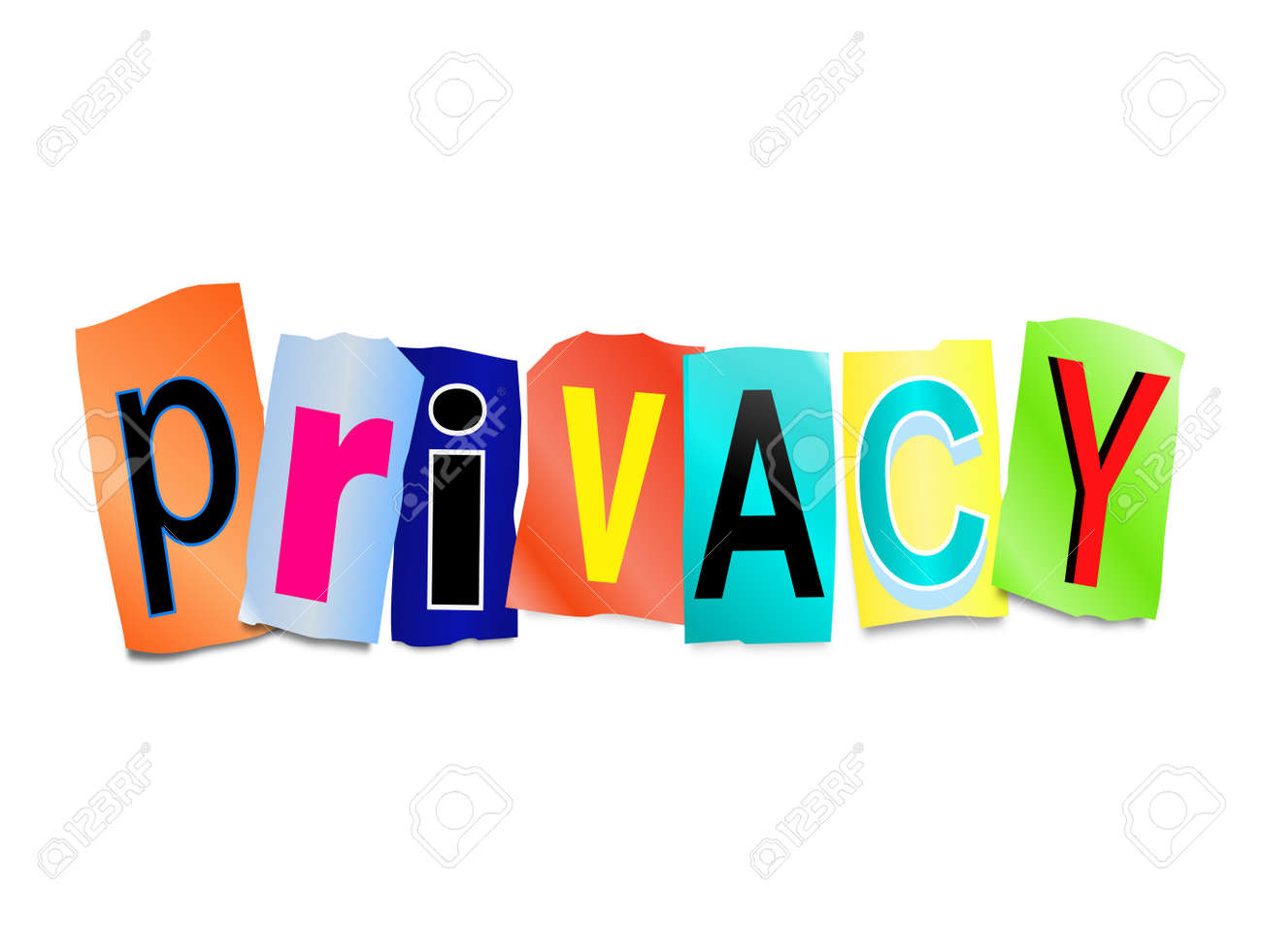Illustration depicting a set of cut out printed letters arranged to form the word privacy. Stock Illustration - 25325099