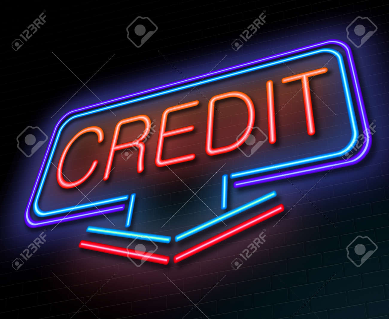 Illustration depicting an illuminated neon sign with a credit concept. Stock Illustration - 26911260