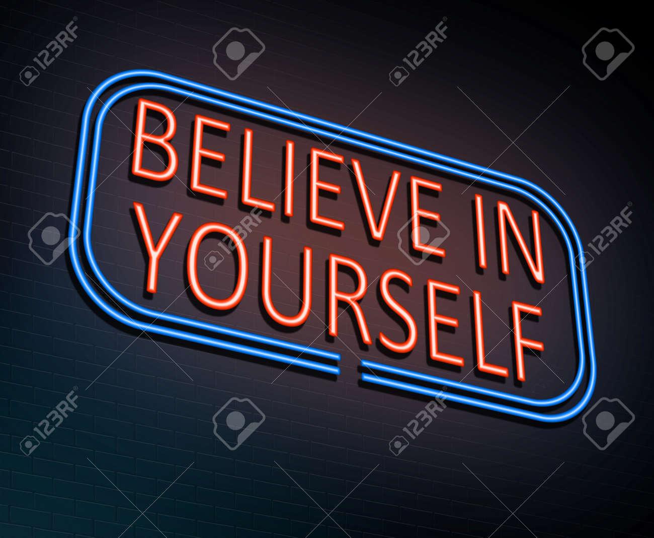3d illustration depicting an illuminated neon sign with a believe 3d illustration depicting an illuminated neon sign with a believe in yourself concept stock illustration solutioingenieria Choice Image