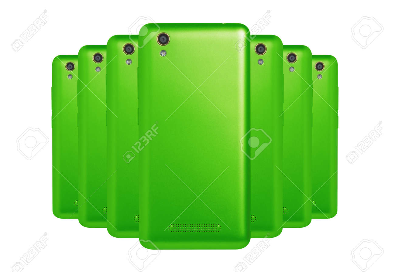 A Number Of Phones Green Color Stock Photo, Picture And Royalty Free ...