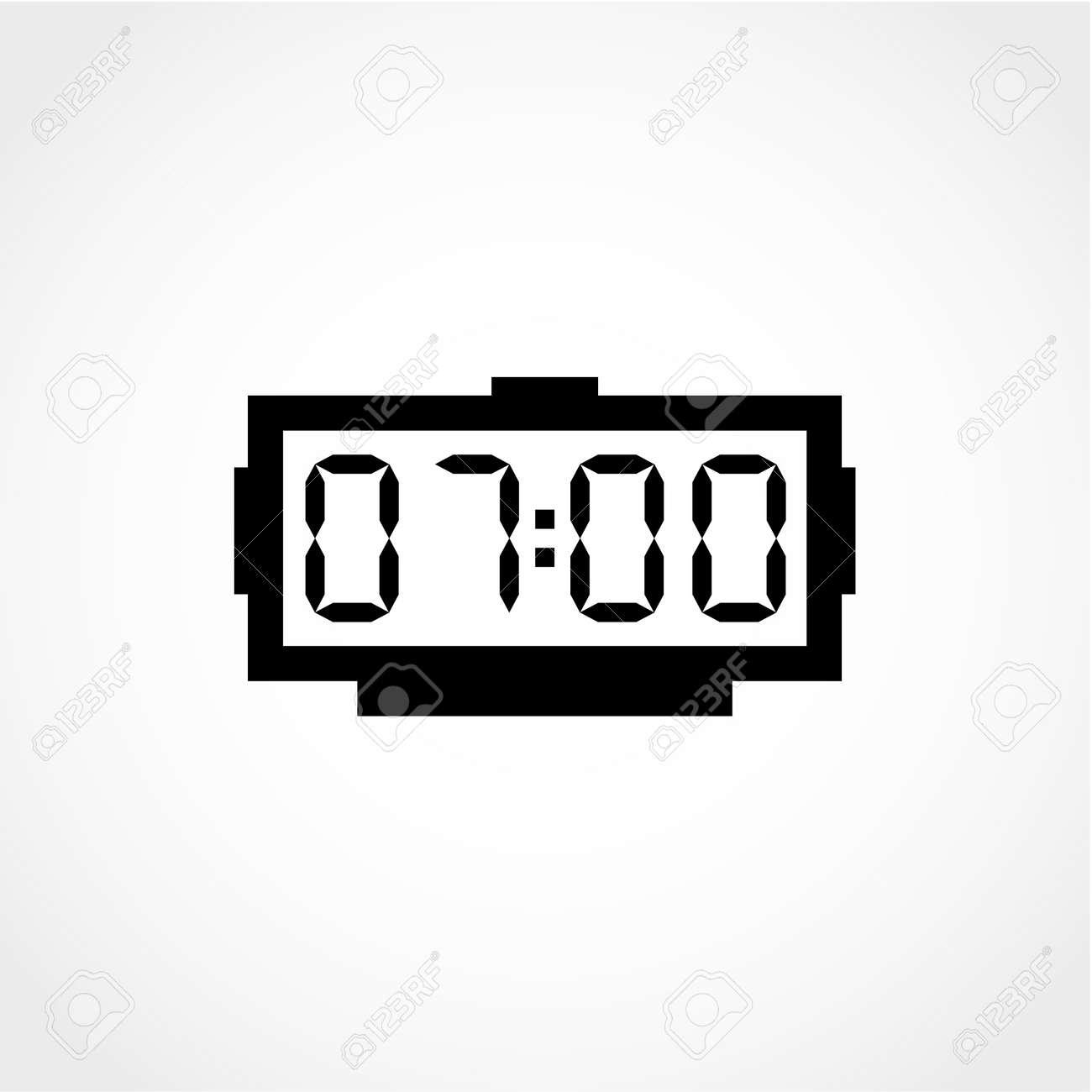 digital alarm clock icon isolated on white background royalty free rh 123rf com Digital Clock Numbers Analog Clock Clip Art