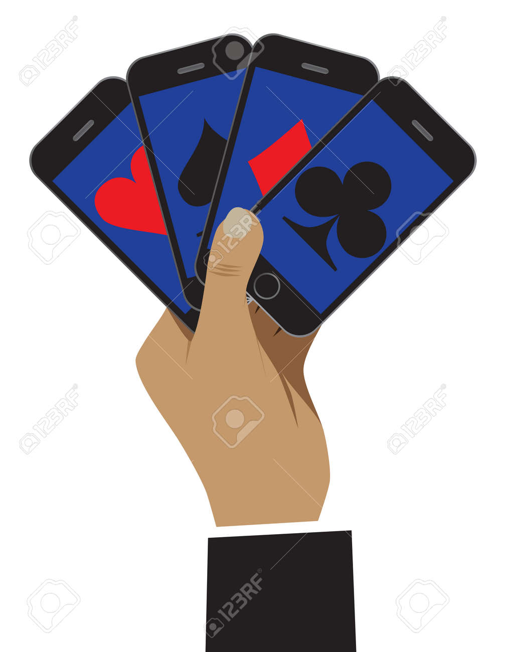 The Smartphone Is Shown As Playing Cards. Business Is Shown As ...