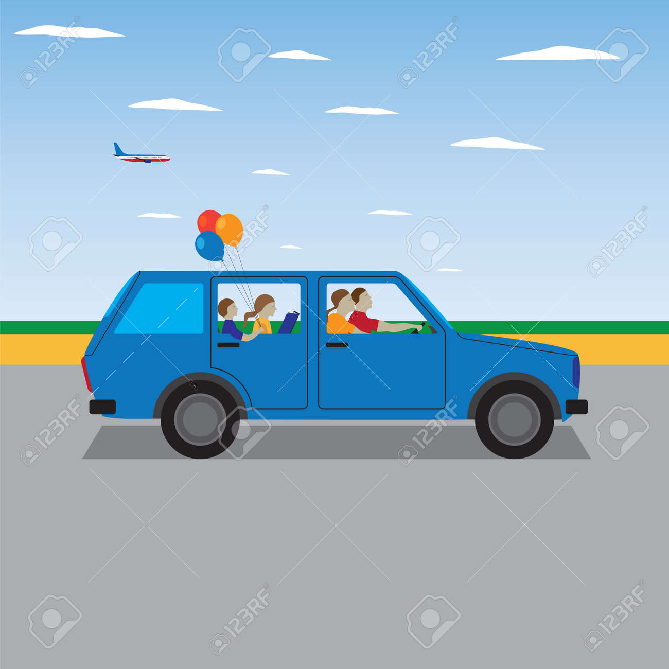 Family traveling by car. Family summer vacation, tourism and journey. Vector illustration. Elements for design. - 44959553