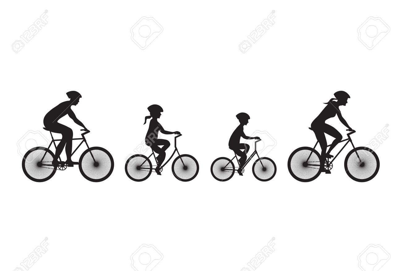 Silhouette of family on bicycles. Elements for design. - 45967286