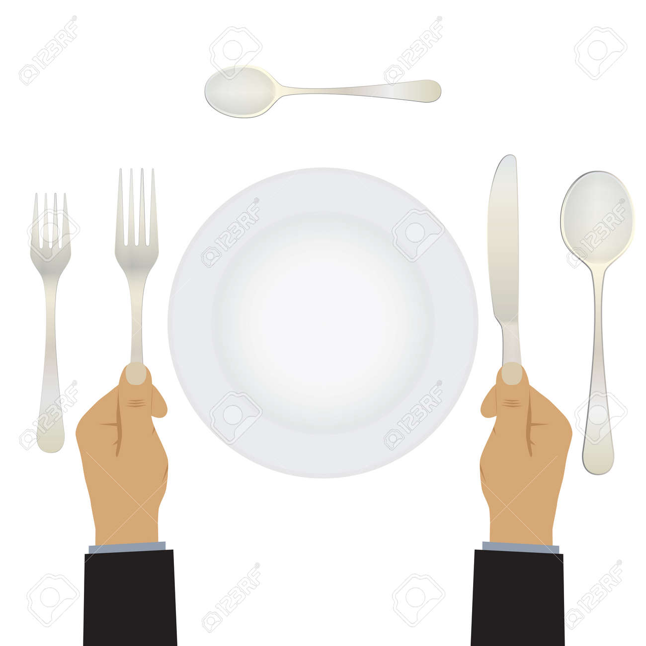 Hand with a knife and fork. Tableware. Table setting. Etiquette. Top view  sc 1 st  123RF.com & Hand With A Knife And Fork. Tableware. Table Setting. Etiquette ...