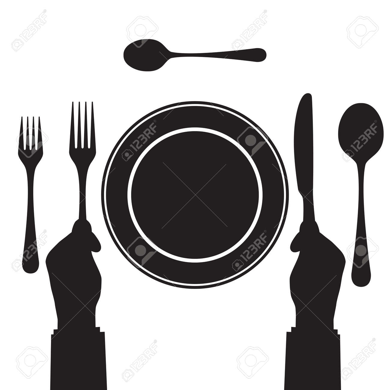 Black silhouette of a hand with a knife and fork. Tableware. Top view. Elements for design: plate, fork, spoon, knife. - 49773520