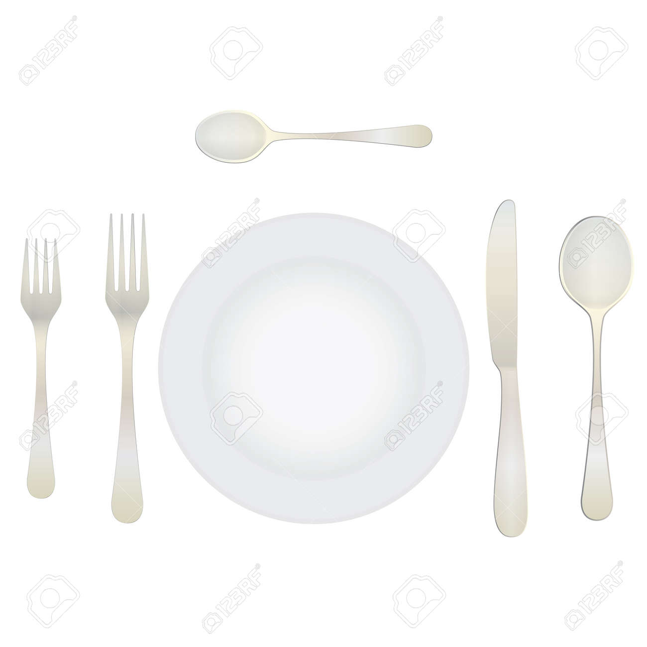 Cutlery and crockery on the table. Table setting. Etiquette. Top view. Elements  sc 1 st  123RF.com & Cutlery And Crockery On The Table. Table Setting. Etiquette ...