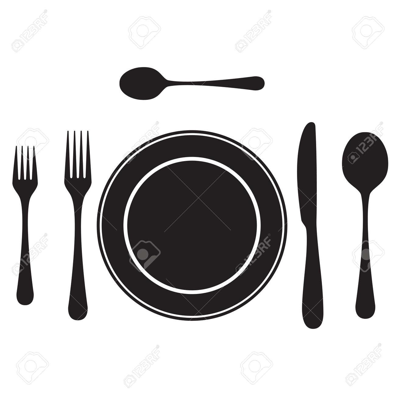 Black silhouettes of cutlery tableware. Table setting. Etiquette. Top view. Elements  sc 1 st  123RF.com & Black Silhouettes Of Cutlery Tableware. Table Setting. Etiquette ...