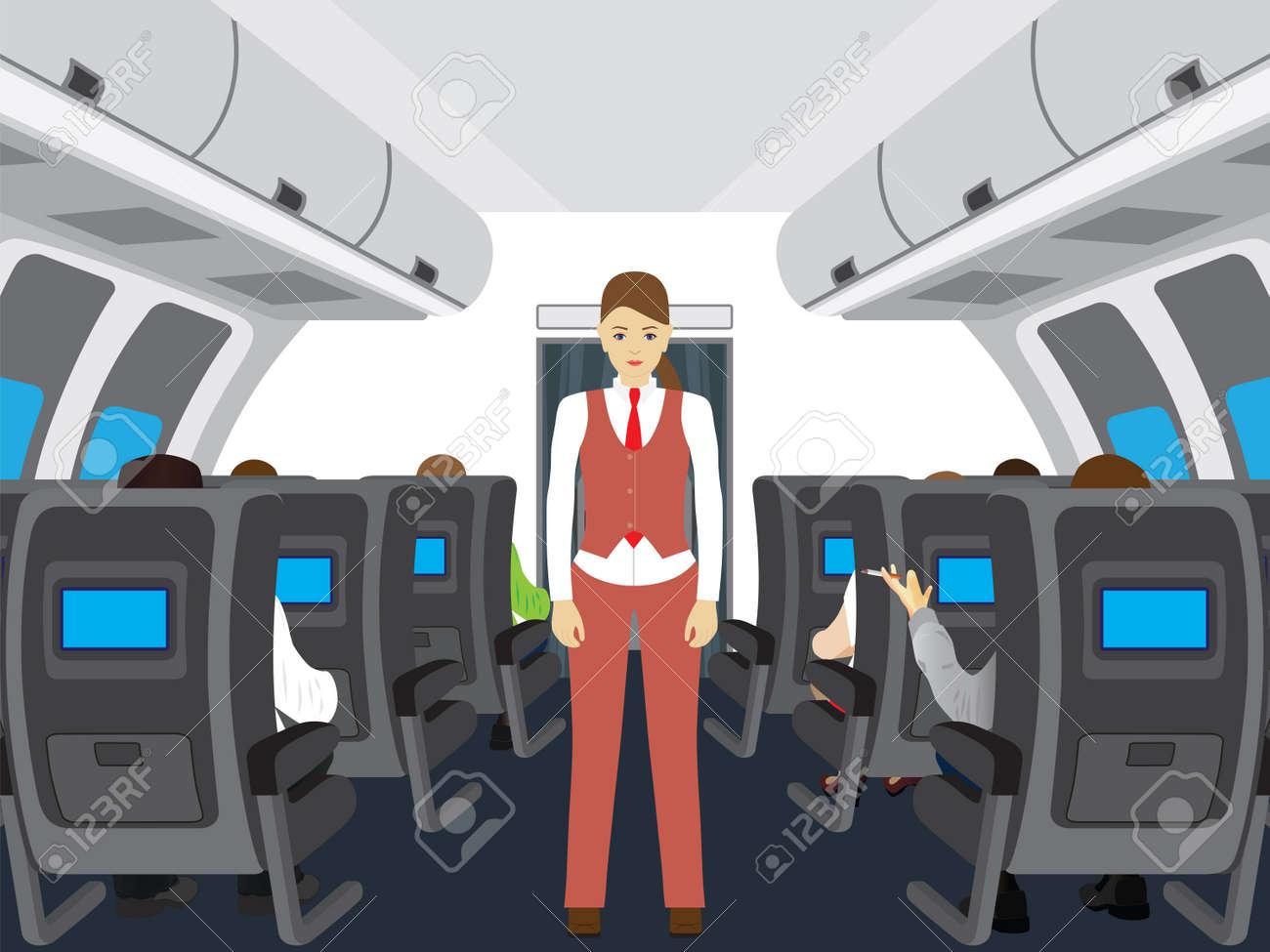 passengers and stewardess on the plane interior of salon of