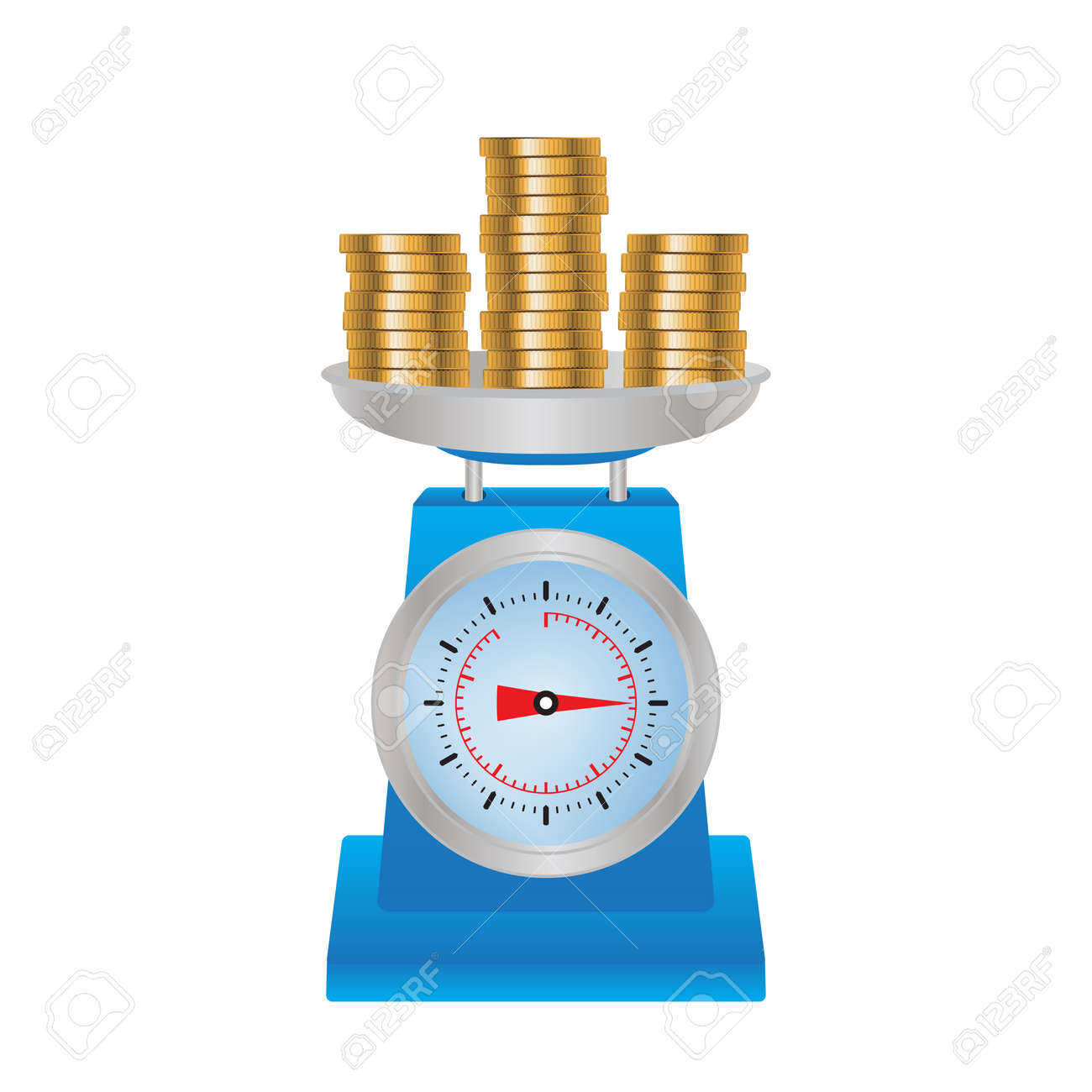 Coins on the scales. Illustration, elements for design. - 52500375