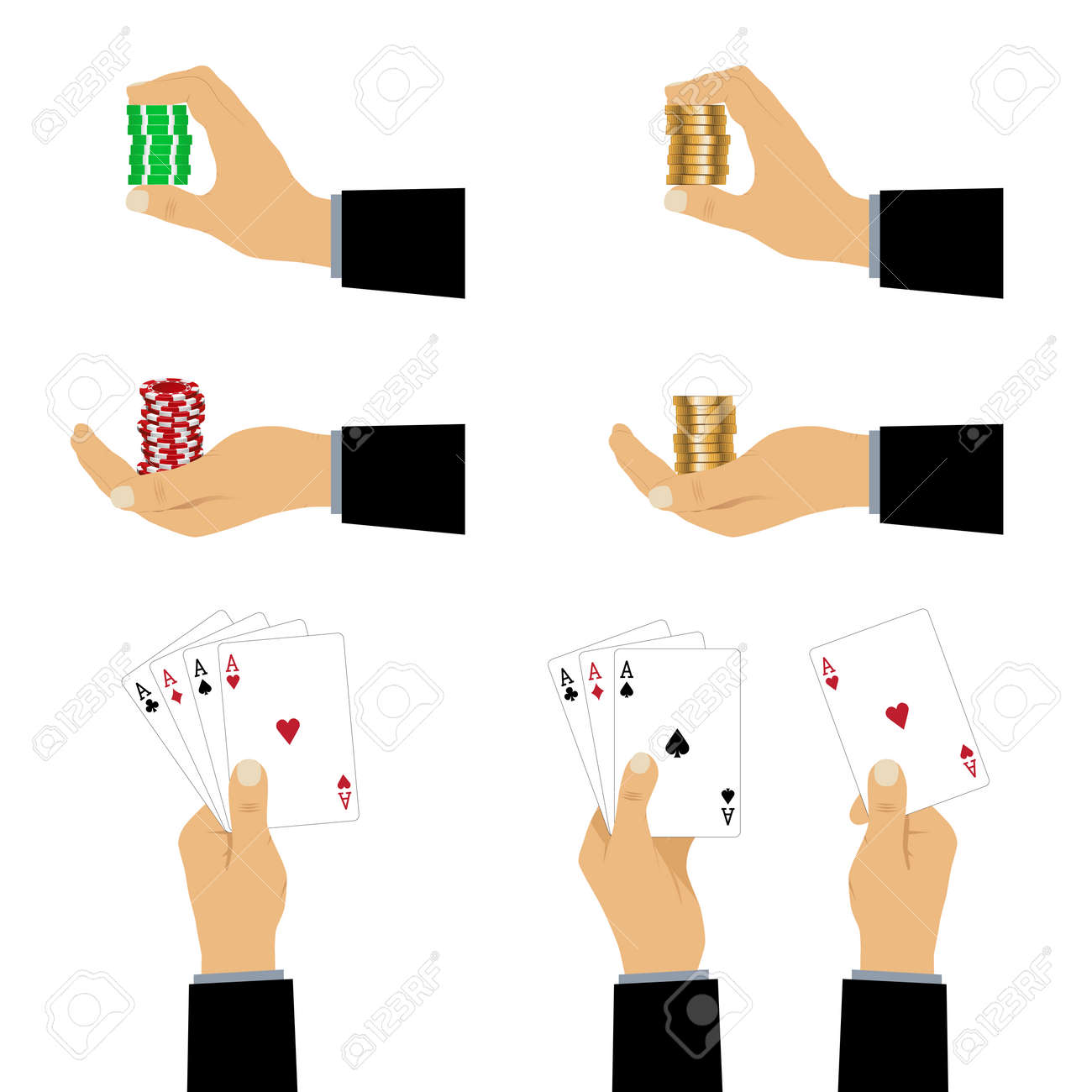 Hand with playing cards and chips. Playing cards and casino chips. - 52404343