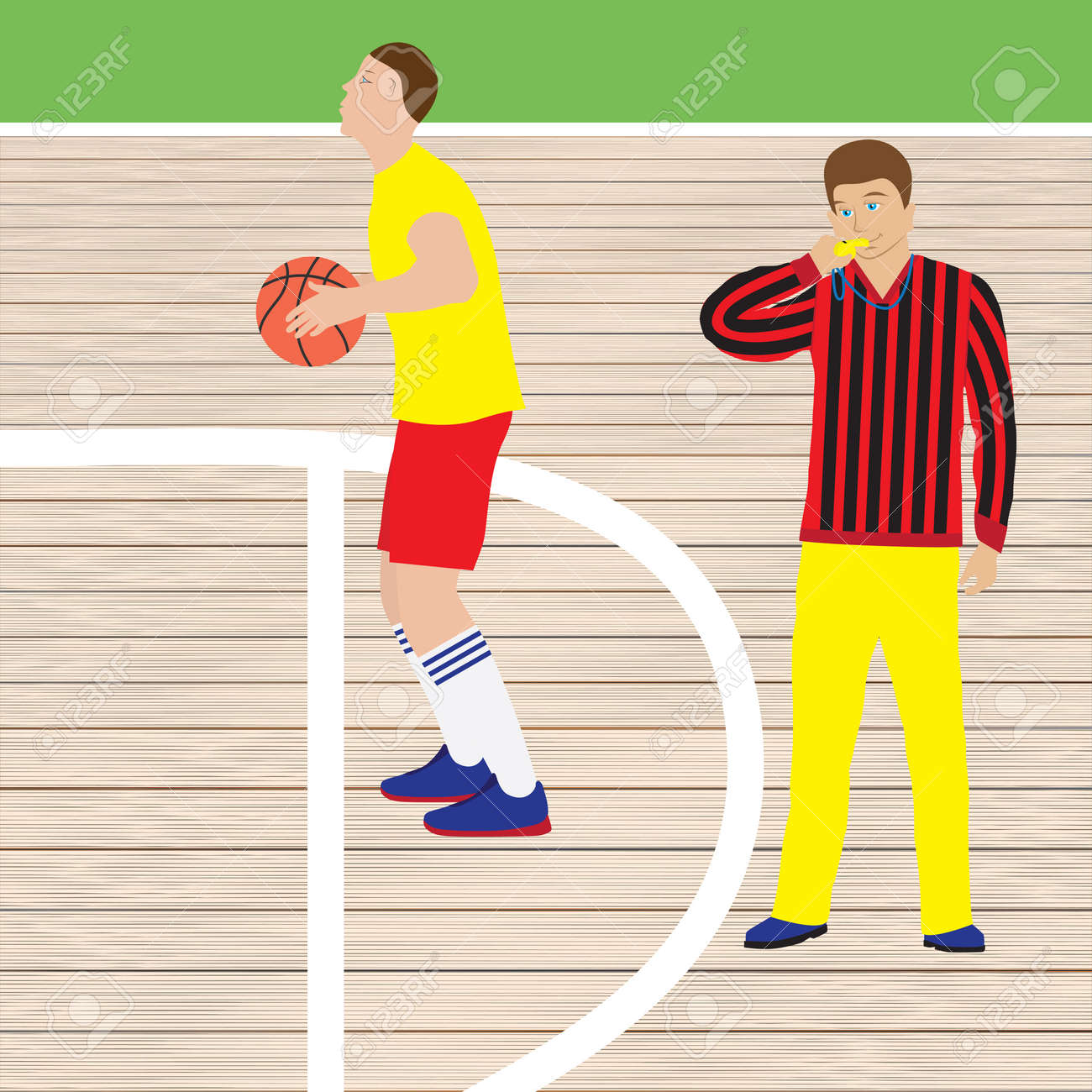 Basketball player and referee with whistle. Basketball. Sport. - 52407231