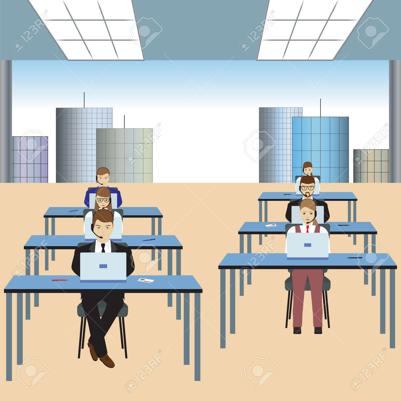 People working in a call center. Office. Support service. Call center. - 52407232