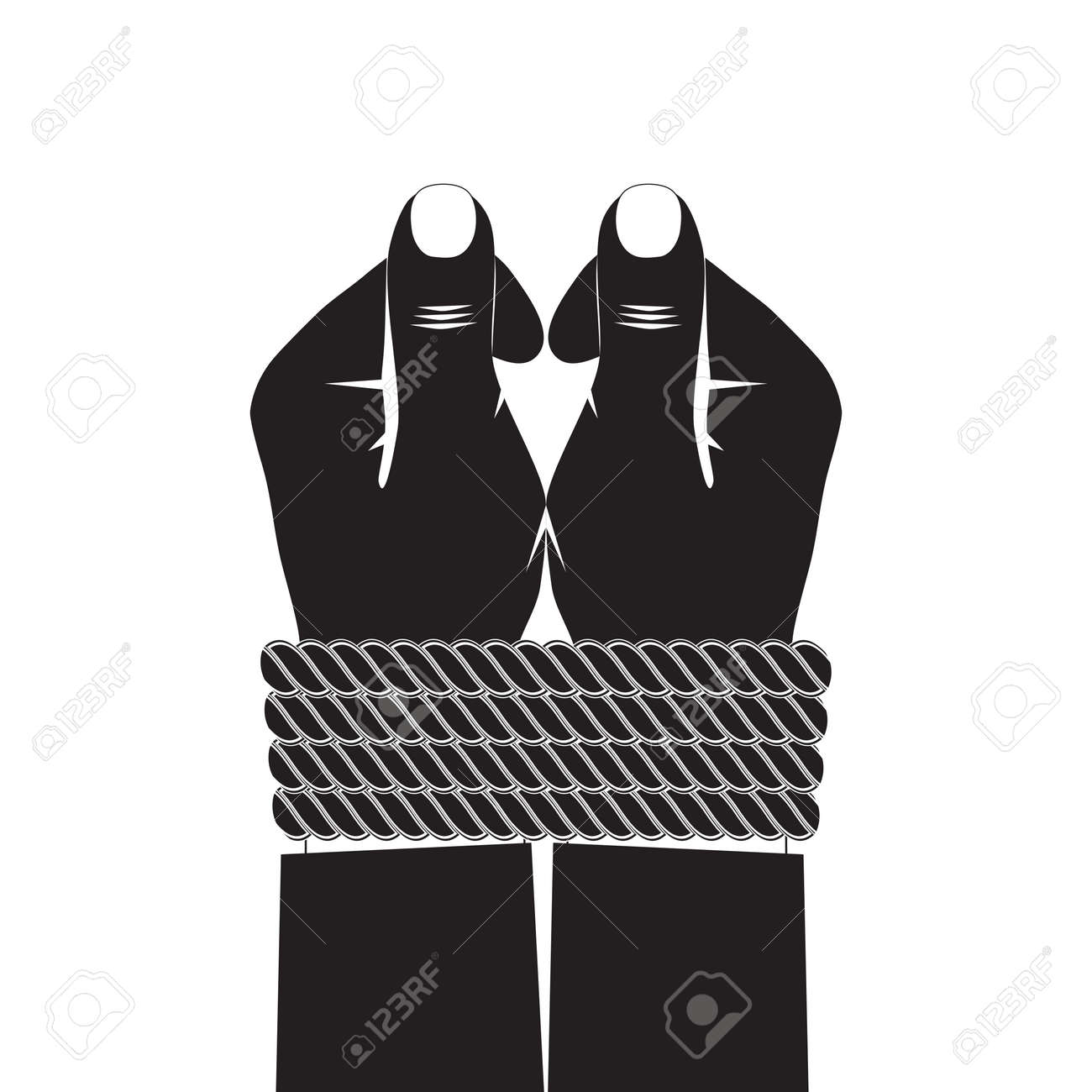 Black silhouette of the hands tied by a rope. - 54283321