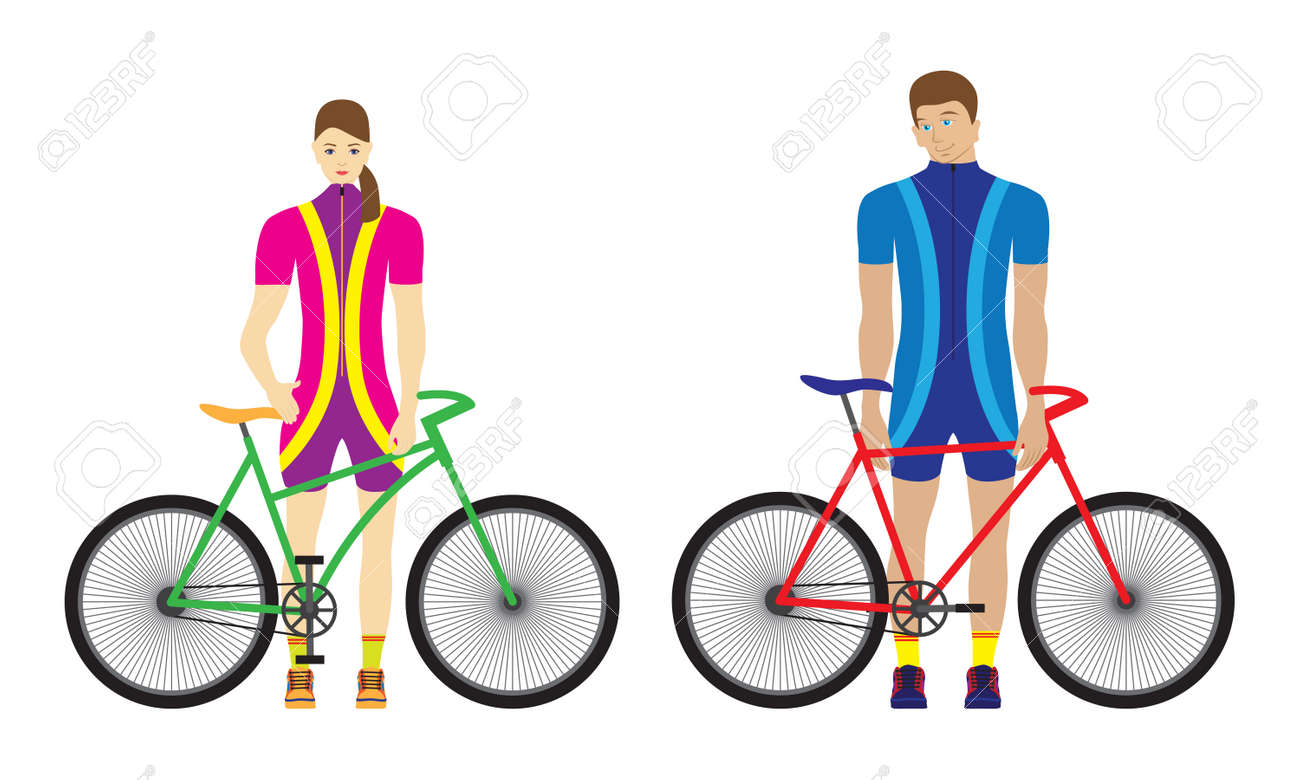 Woman and man stand with bicycles. Sport family. - 125795839