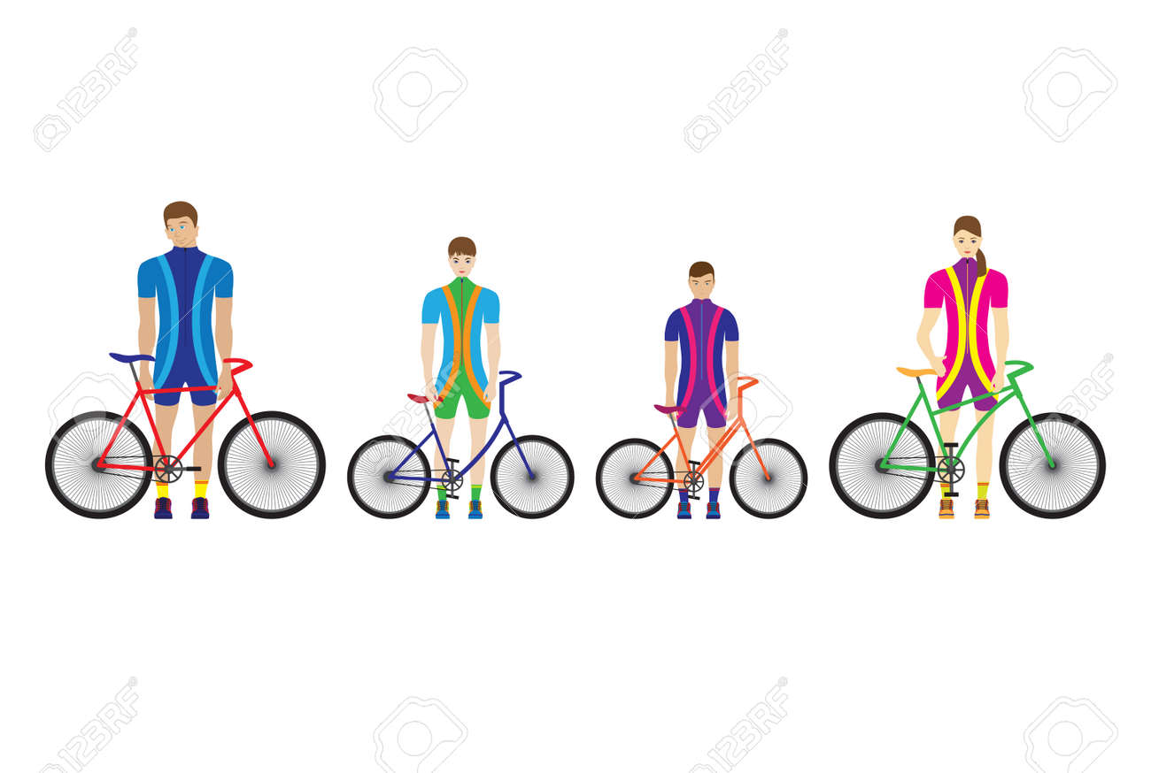 Father, mother and children stand with bicycles. Sport family. - 125360313