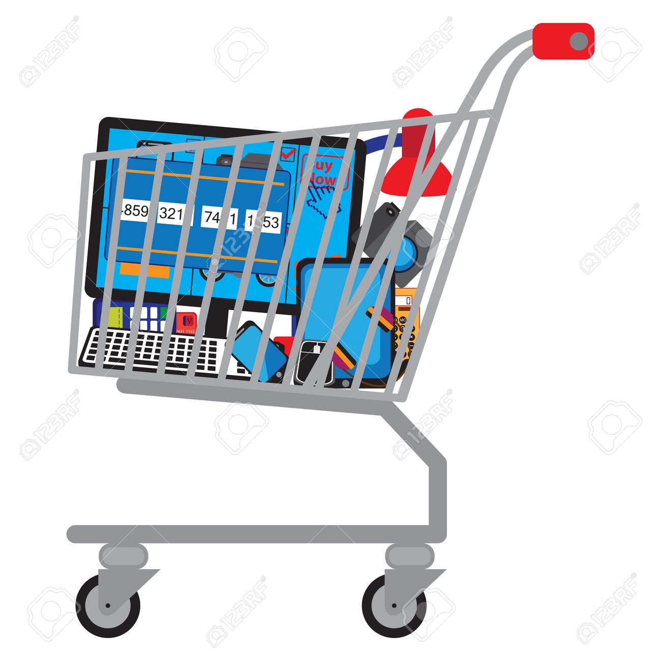 Shopping cart (shopping trolley) with different technical goods. - 124281631