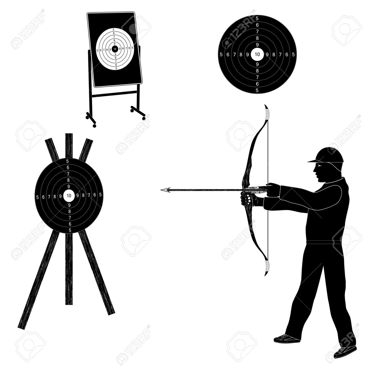 Shooter with bow and target. Black silhouette. Sports archery. - 124643211