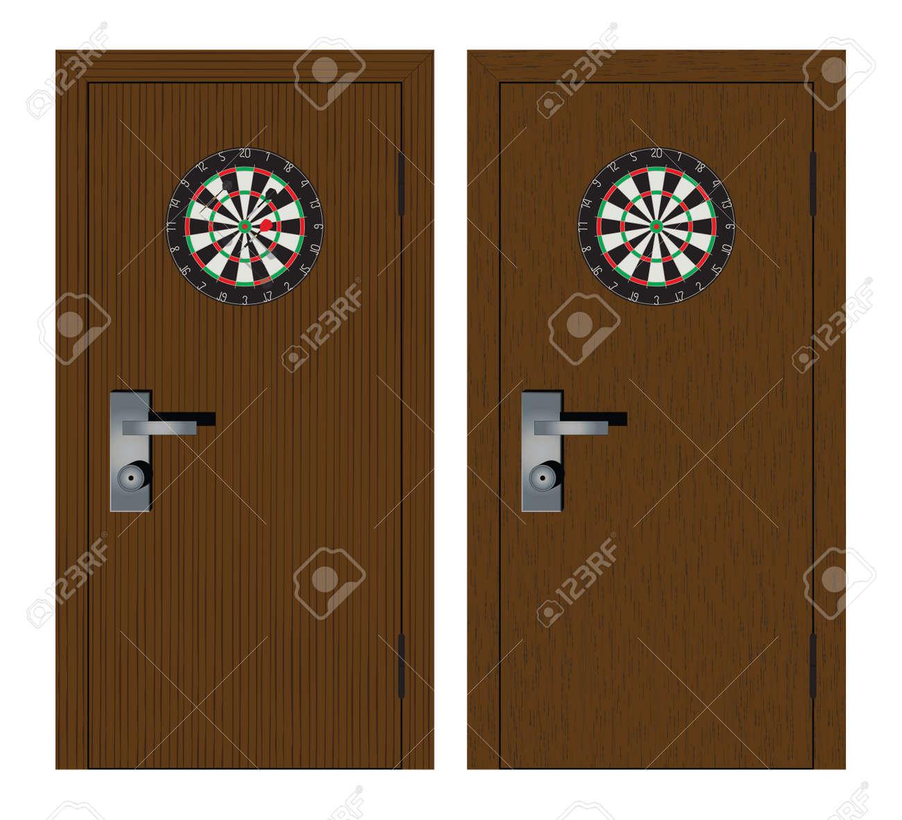 Dartboard on the door. Darts. - 124643226
