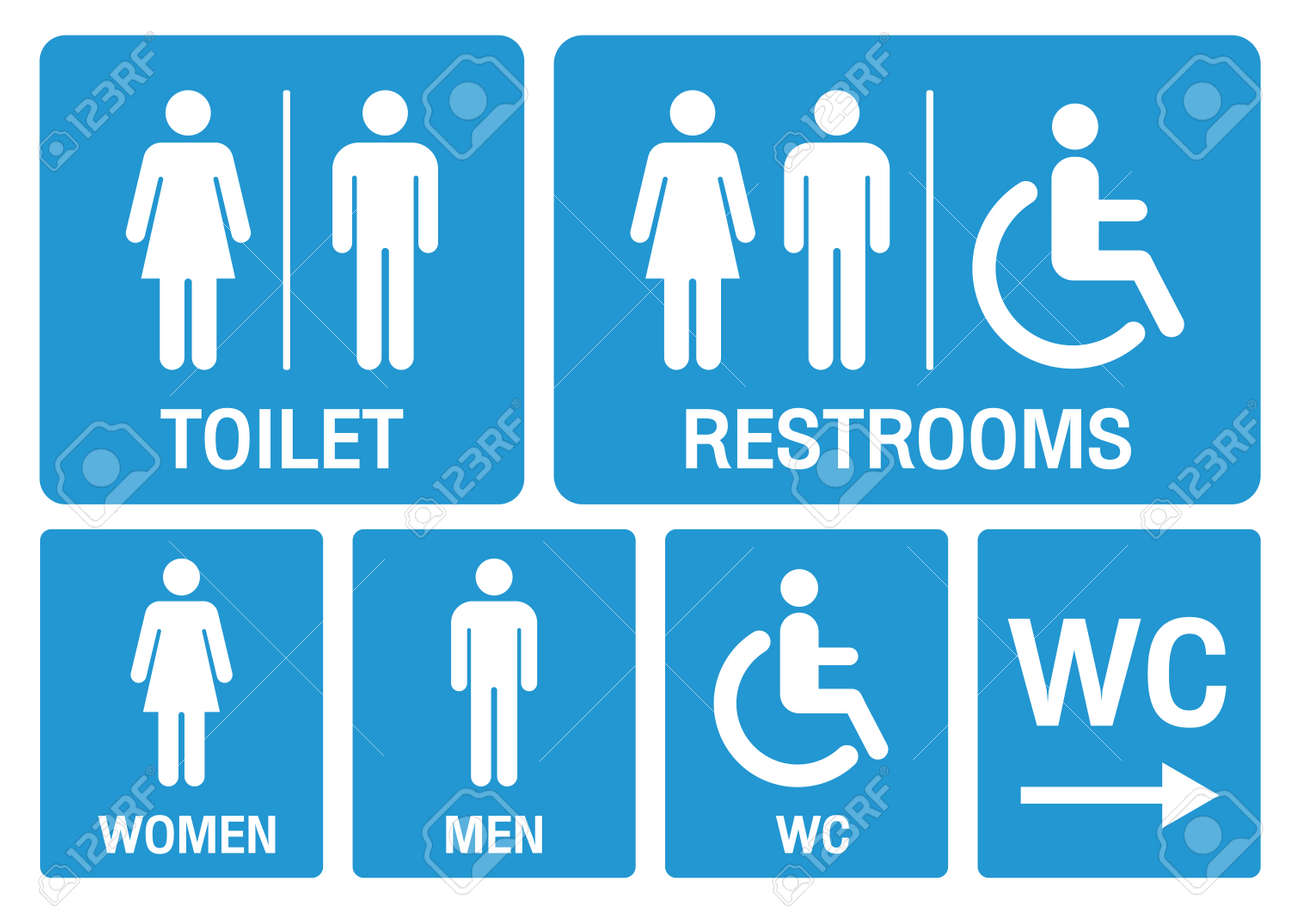 toilet signs. set toilet signs illustration vector. - 166354065