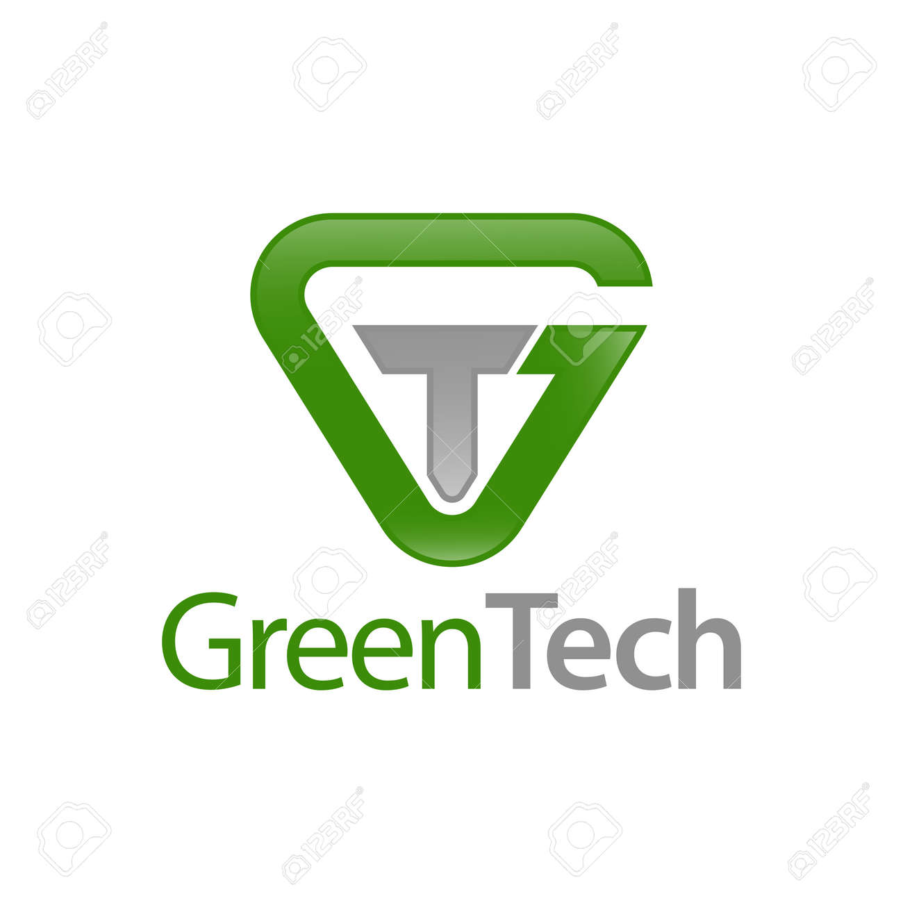 Green Tech. Triangle initial letter GT, TG logo concept design template idea - 143647308