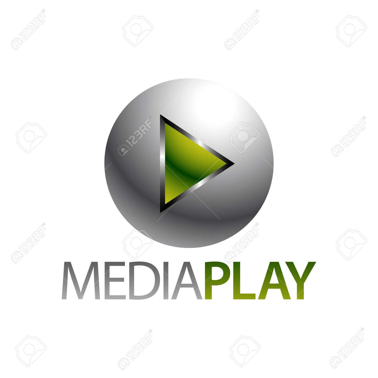 Shiny sphere green media play icon logo concept design template idea - 143647446