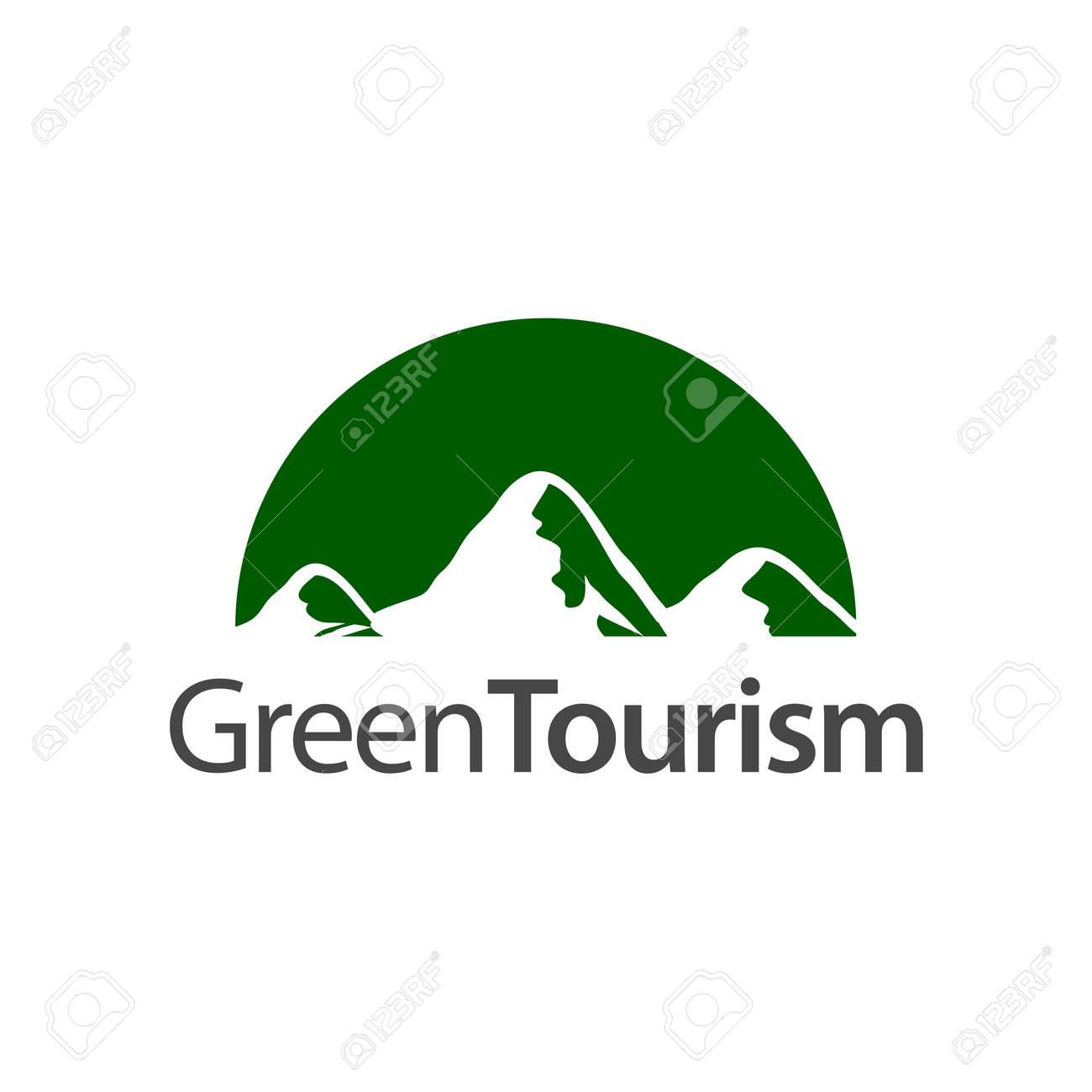 Green Tourism. Half circle mountain icon logo concept design template idea - 143647472