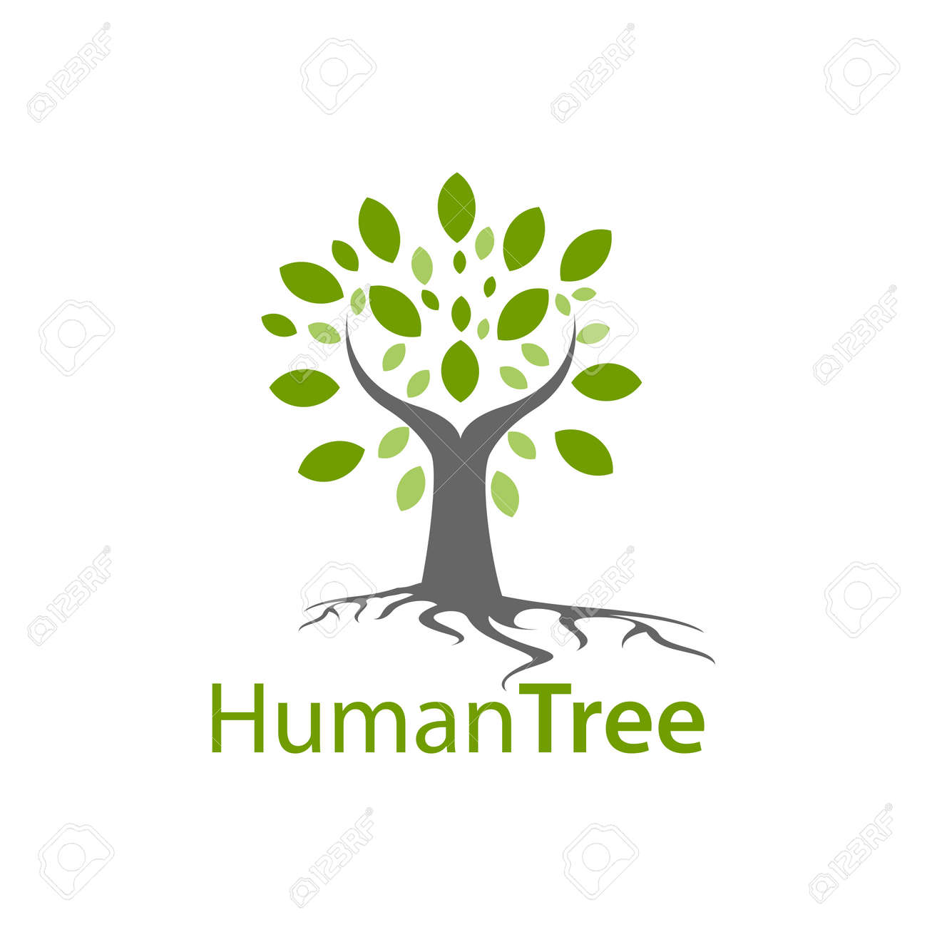 Human tree logo concept design. Symbol graphic template element vector - 143647671