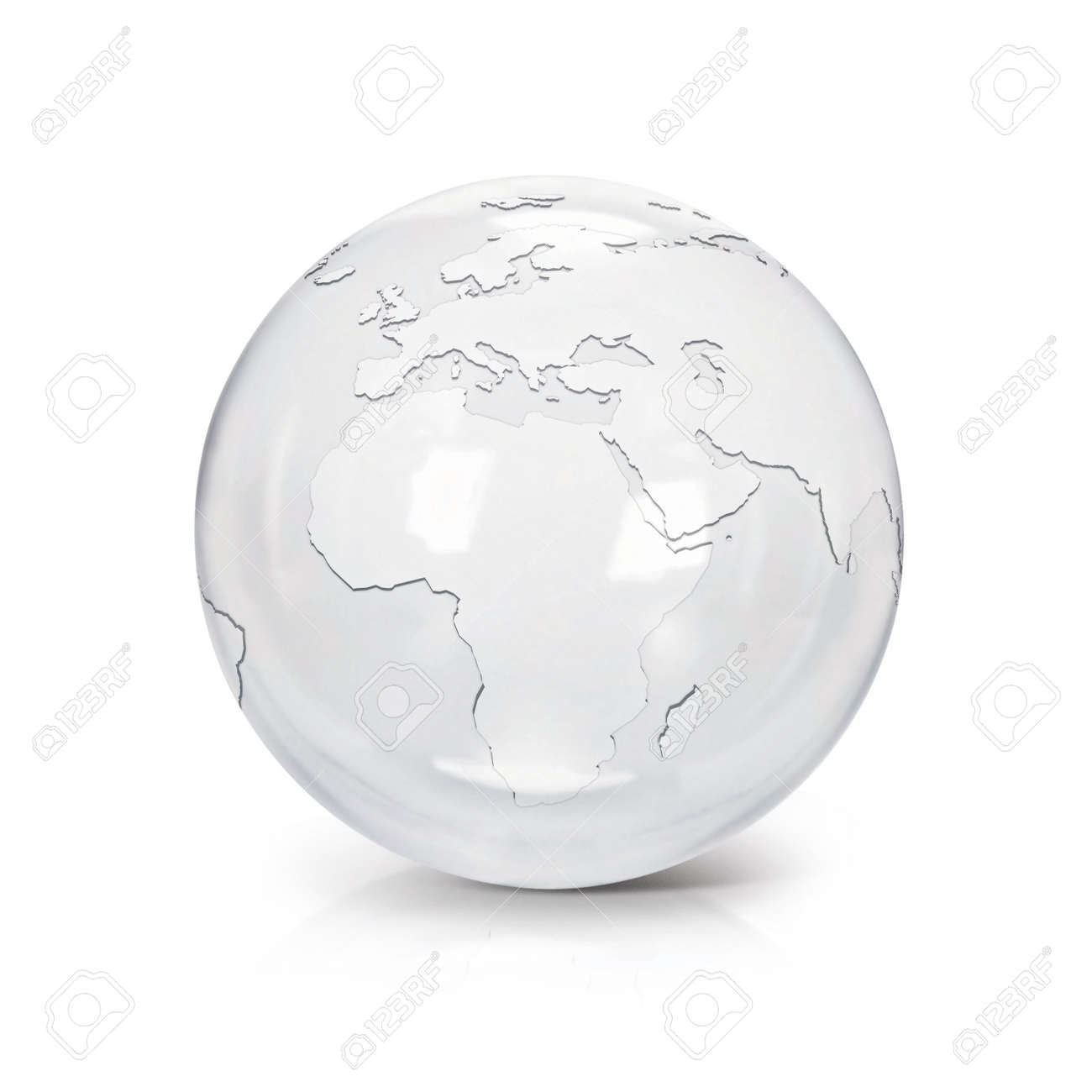 Clear Glass Globe 3d Illustration Europe And Africa Map On White