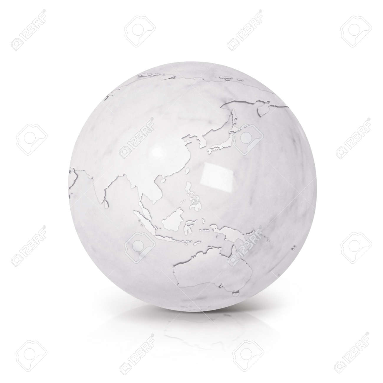 illustration white marble globe 3d illustration asia australia map on white background