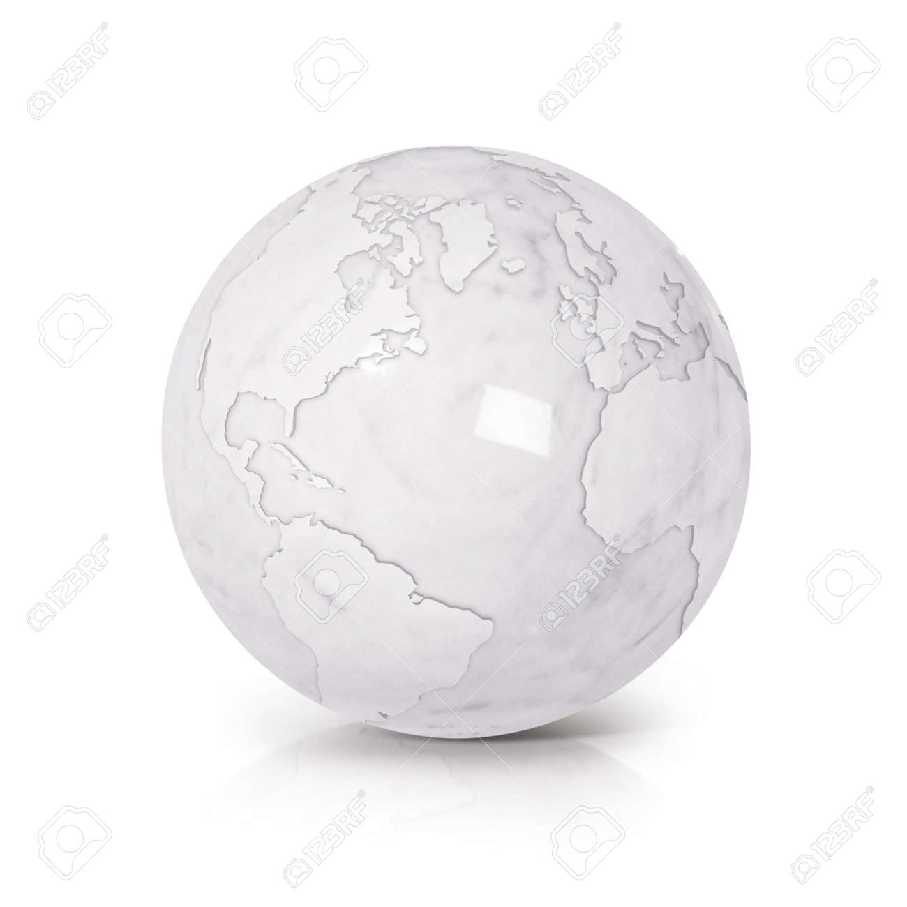 illustration white marble globe 3d illustration north and south america map on white background