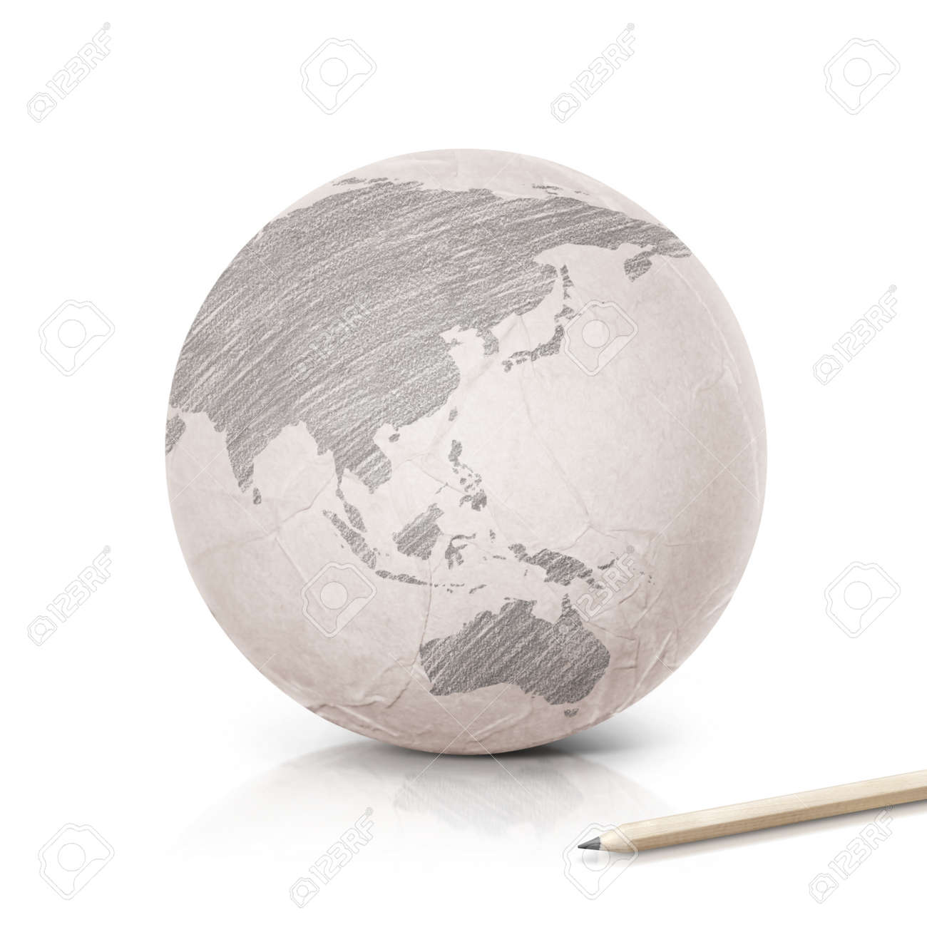Australia Map Globe.Shade Asia Australia Map On Paper Globe On White Background