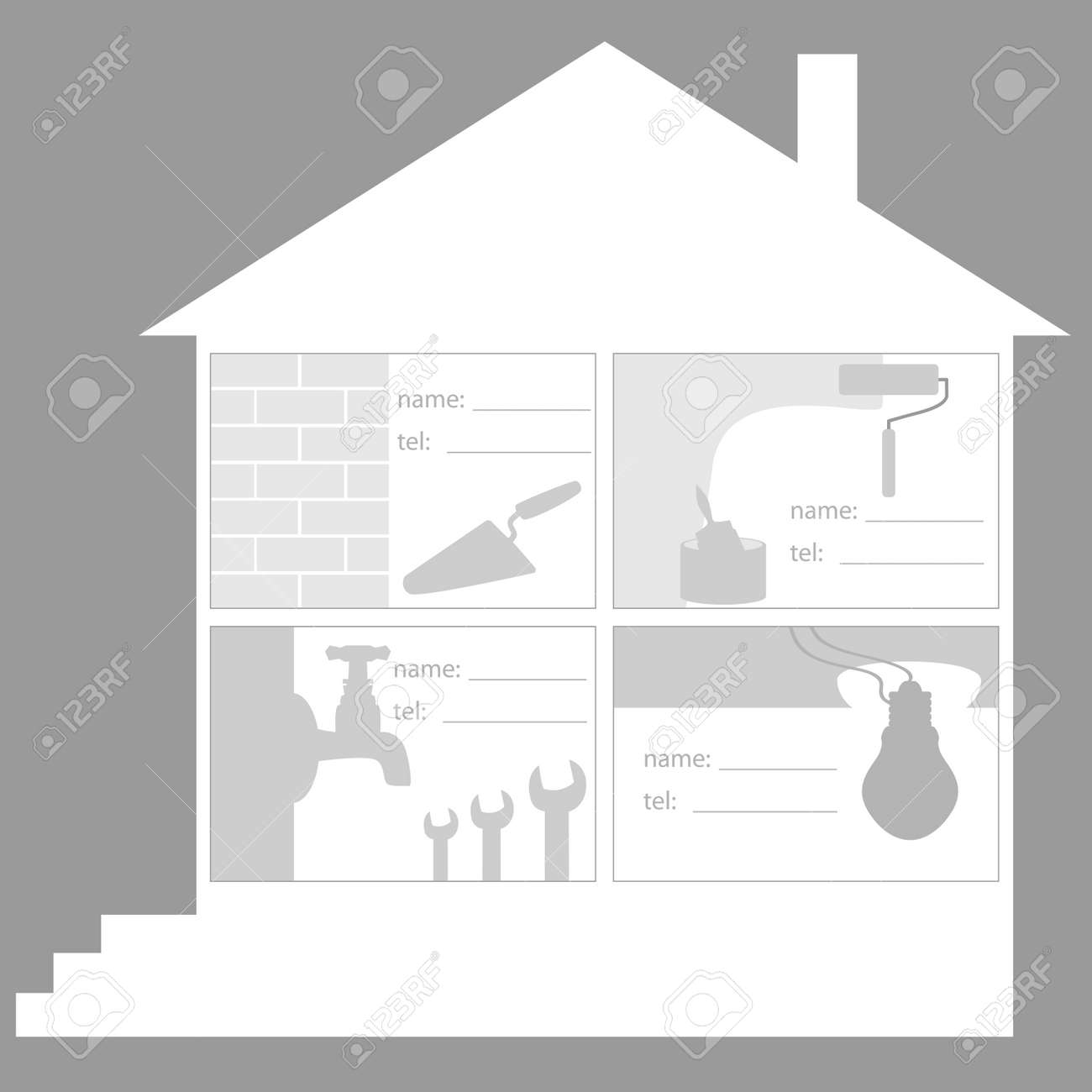 Cut away construction company builders plumbers electricians cut away construction company builders plumbers electricians painters stock vector reheart Images